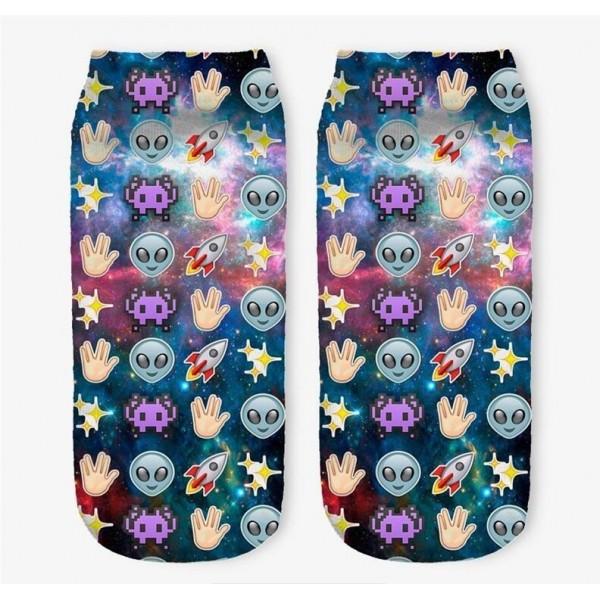 Модные носки с принтом Emoji Alien