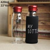 Бутылочка My Bottle красная с чехлом стекло