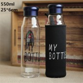 Бутылочка My Bottle синяя с чехлом стекло