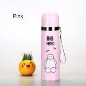 Термос Big hero розовый 350 мл со шнурком