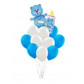Букет из шариков Мишка+бутылочка+10 шариков синий